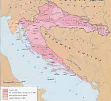 Map 2 ) 1881, Croatian Military Frontier (Vojna Krajina) A Concise Atlas of the Rep. of Croatia  & B&H, Miroslav Krleza Lexicographical Inst., Zagreb, 1993